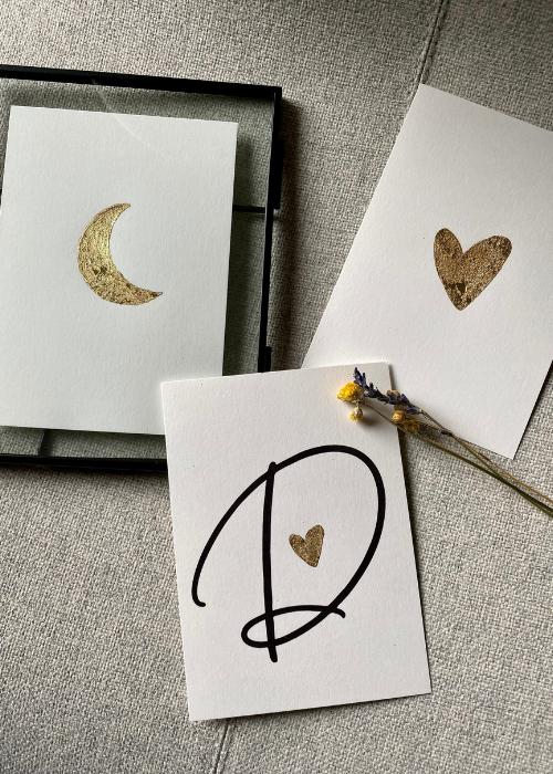 kaart hart, maan, letter
